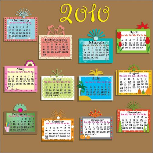 2010 Precioso material de vectores de calendario