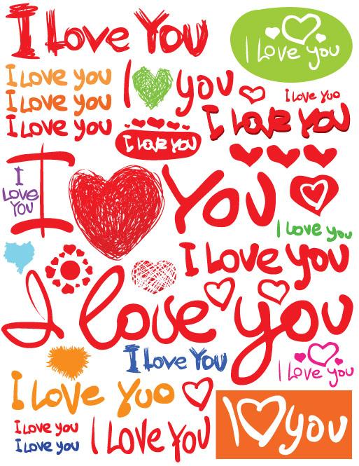 Fuentes de Valentine�� día Vector material inglés pintados a mano