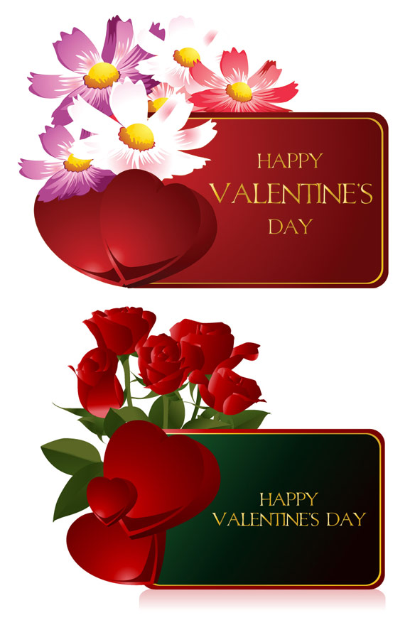 Valentine��; s día tarjetas vector material