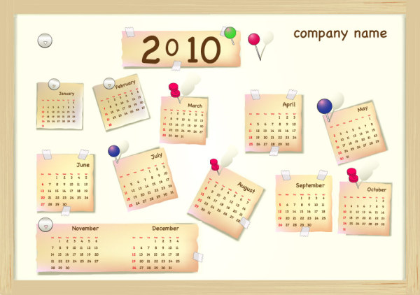 素敵な 2010 年カレンダー