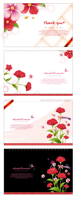 Flowers card template vector material