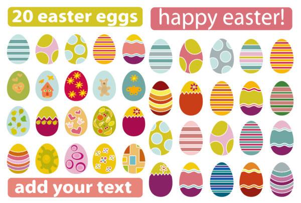 Разнообразные пасхальные яйца векторного материала
