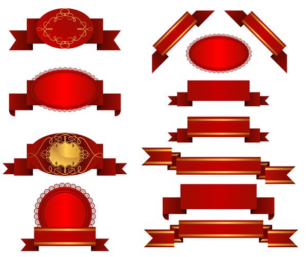 Varios materiales de vector de cinta cinta roja