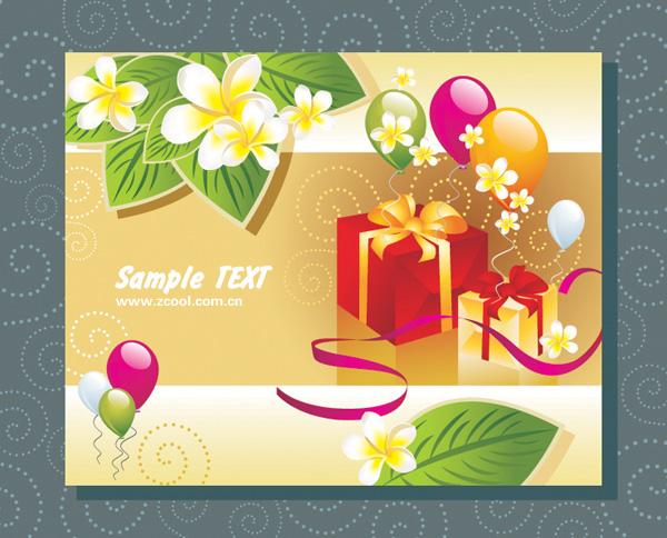 Cartes-cadeaux de ballon vecteur matériels feuilles