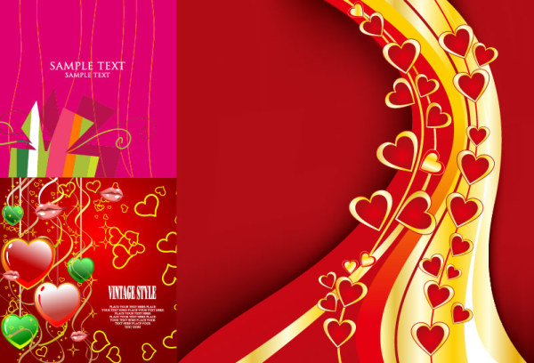3 hermosas Valentine elemento vector de material