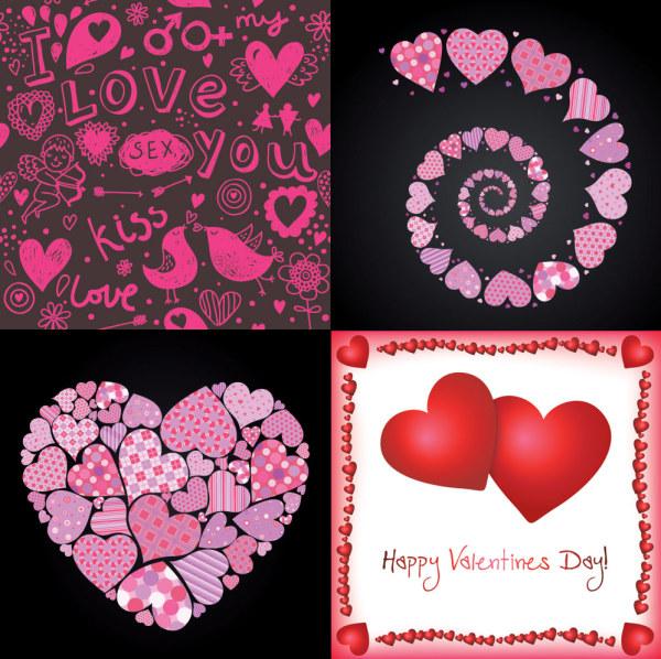 4 美しいバレンタイン要素ベクトル材料