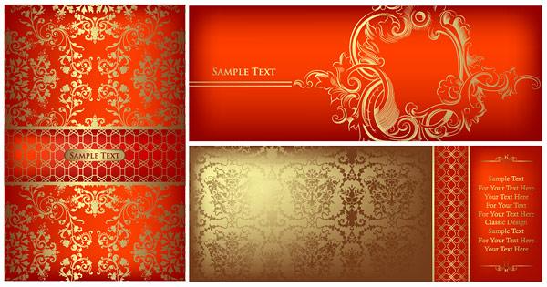 Material de vectores de oro adornado patrón