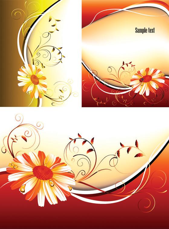 3 花パターン背景ベクトル材料