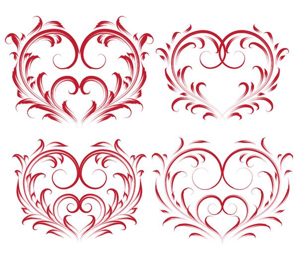 4 schöne Herz-förmigen Muster-Vektor-material