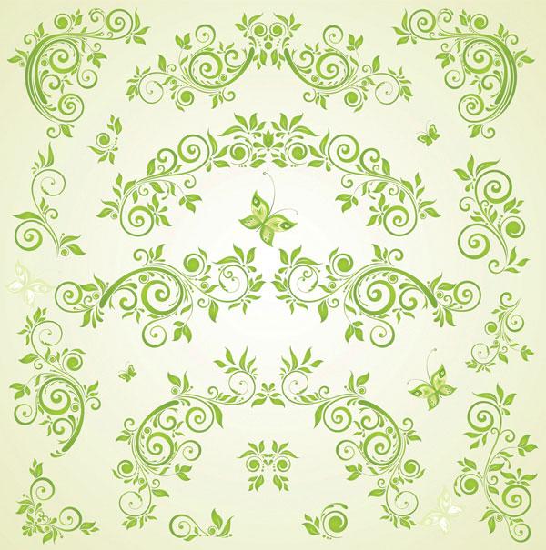 緑蝶欧州パターン ベクトル材料