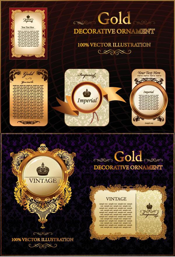 Европейская модель золотые кружева модель вектор материал