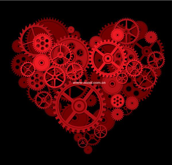 Engrenagem formada pelo material de vetor de grande coração pêssego