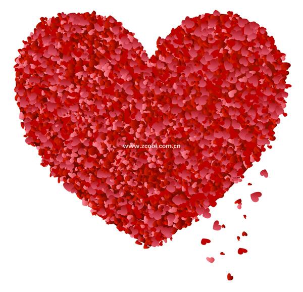 Сердце лепестки, образованный стремление К большой персик сердце векторного материала