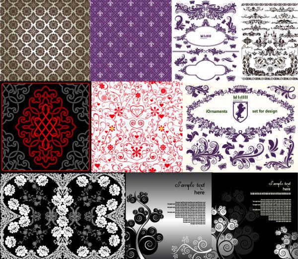 10 の美しいパターン ベクトル材料