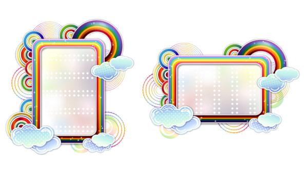 Arc-en-ciel nuages vector cute frontière