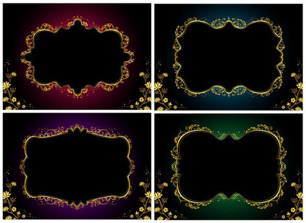 Material de encaje de oro adornado de vectores