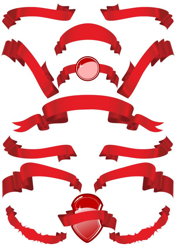 Material de vetor de faixa de opções red ribbon vários