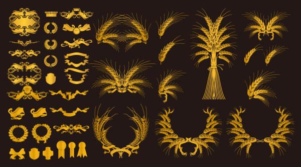 Oro de elemento decorativo Europeo vector material