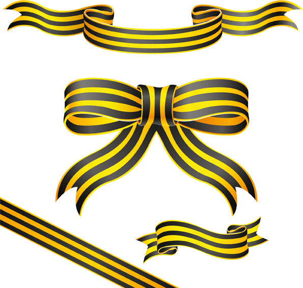Material de vetor Yellow ribbon listrado