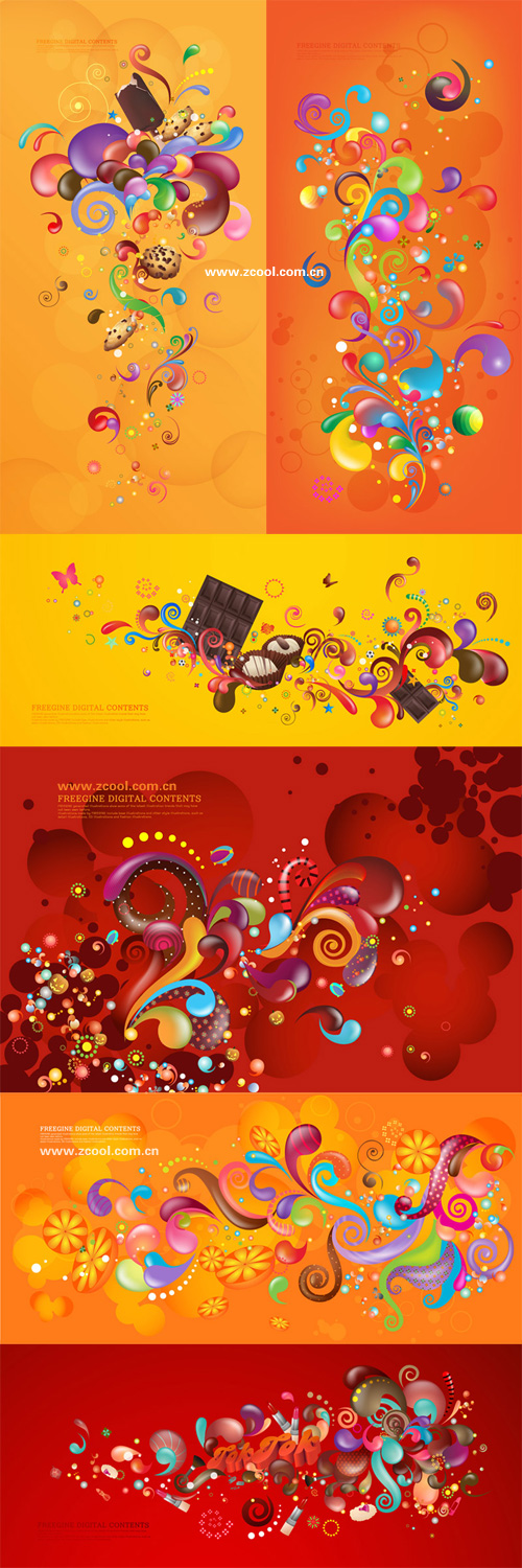 Series de casos actuales colorido vector - Orange rojo (6P)
