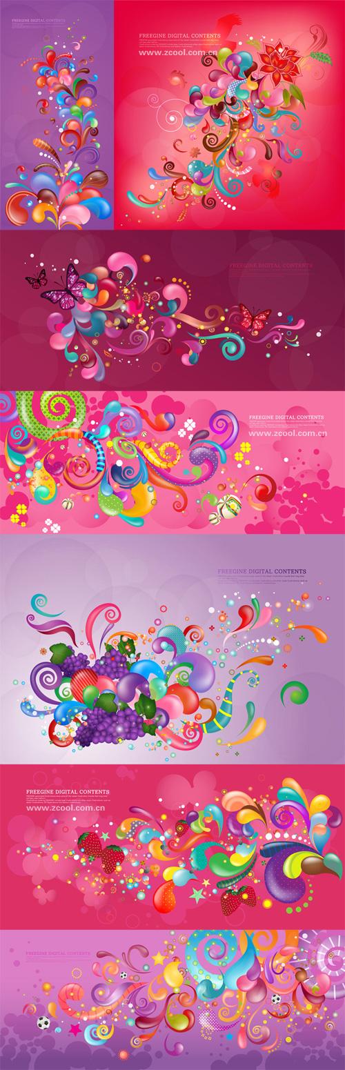 Красочные вектор текущее дело серии - фиолетовый (7 P)