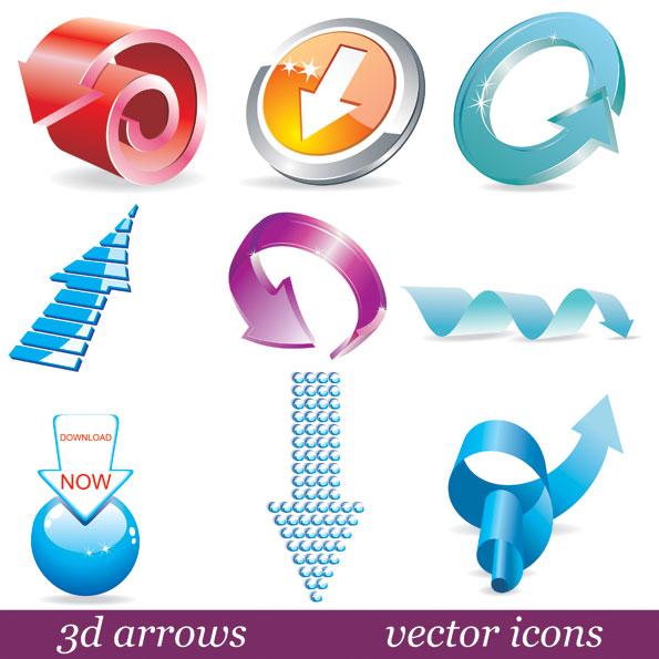 Matériau de vecteur icône flèche solide 3D