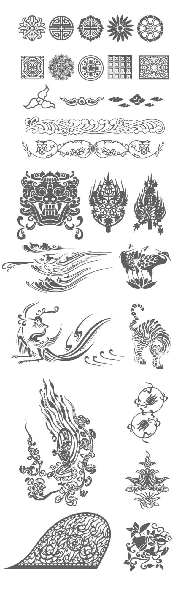 伝統的なパターン ベクトル材料をセット
