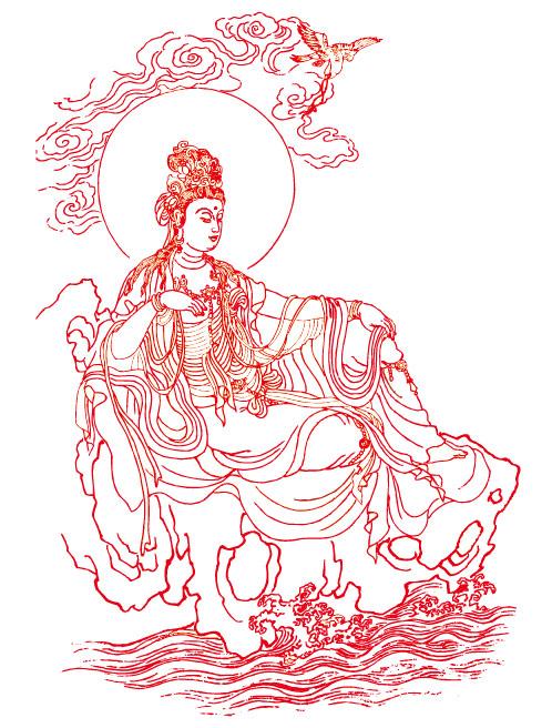 พระโพธิสัตว์ Guanyin รูปวาดเส้นเวกเตอร์วัสดุ