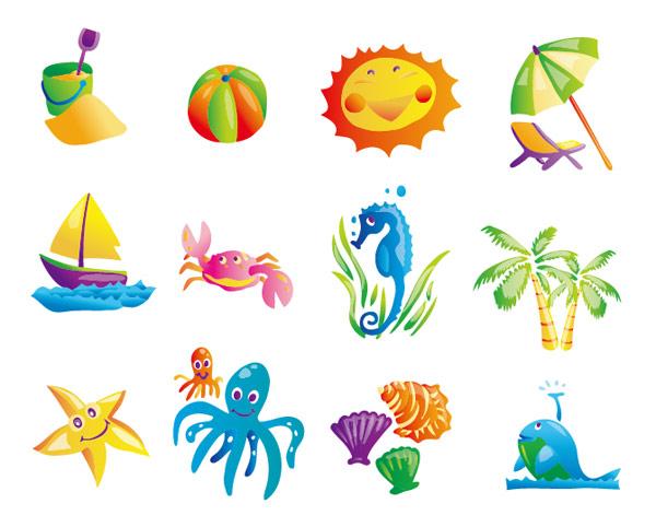 Icono de verano playa objeto vectorial