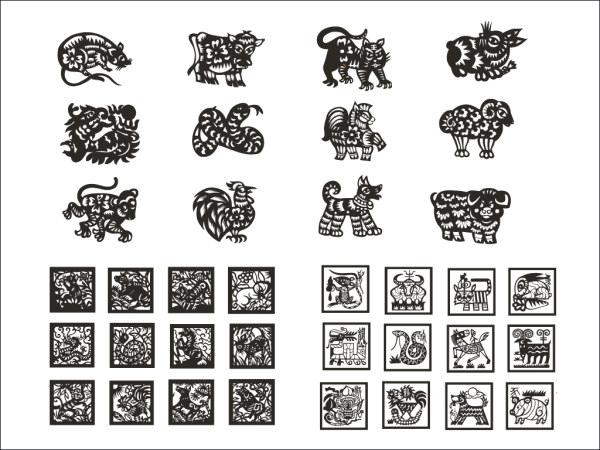Zodiac de material de papel cortado vectores (4)