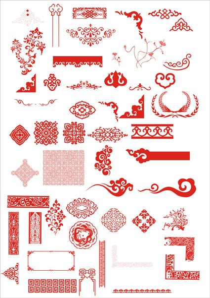 Excelente material de vetor padrão chinesa clássica