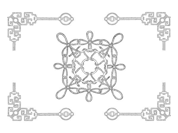 Vector clásico chino del material 21