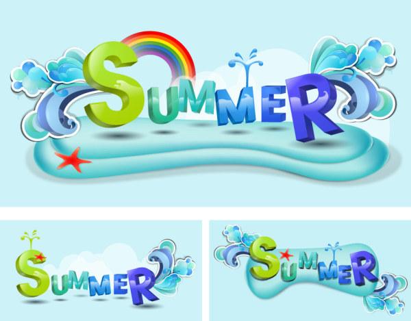 夏のテーマのベクトル フォント デザイン素材