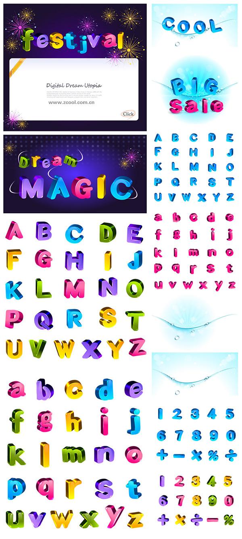 素敵な色立体文字と数値のベクター素材