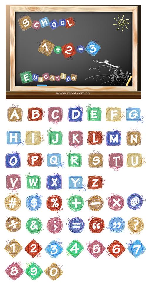 Efecto dibujos animados de la letras y cifras de vector de material