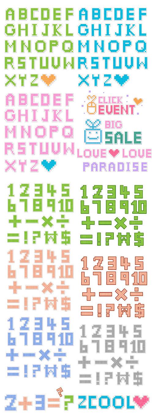 Pixel estilo letras e números vector material