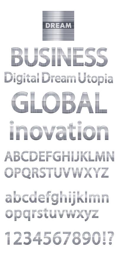 Simple material metálico en inglés Digital vectorial