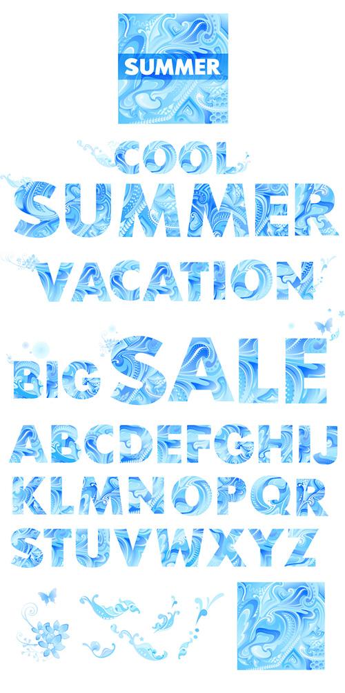 ฤดูร้อนวัสดุจดหมายของเวกเตอร์สีน้ำเงิน