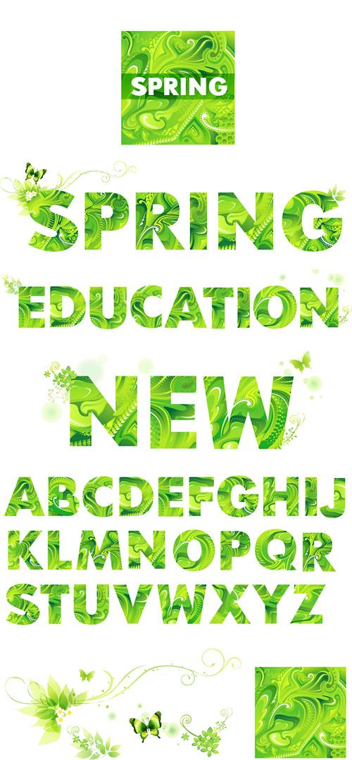 春の緑文字ベクトル材料