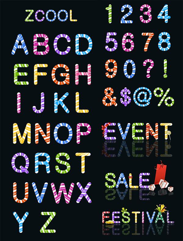Color caramelo de letras y números de material de vectores