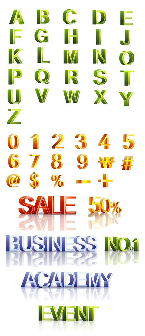 ตัวอักษรและวัสดุสามมิติแบบดิจิทัลเวกเตอร์