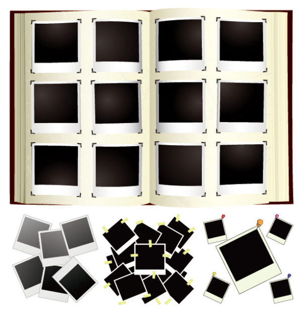 Albums de photos polaroid vecteur matériel
