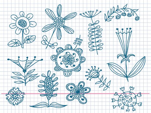 Lindos flores poco pintado de material de vectores