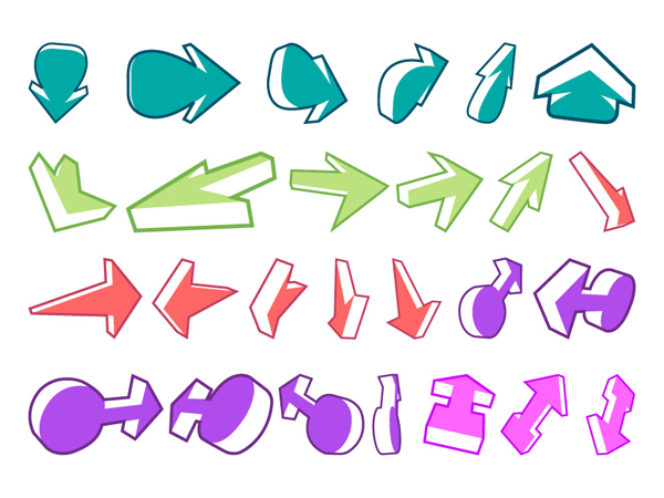 Une variété de flèches et autre matériel de vecteur de deux