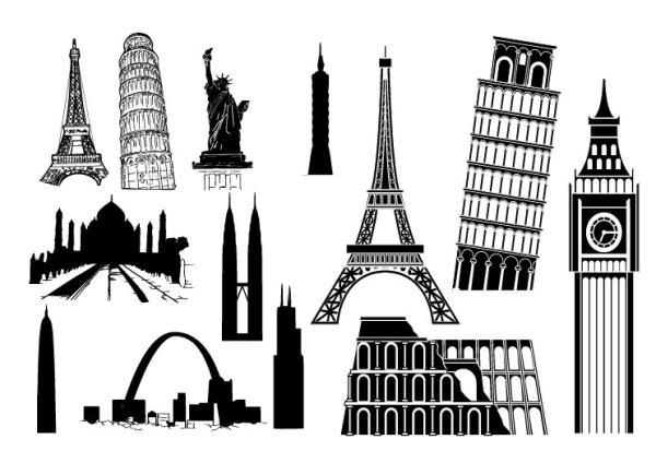 Les bâtiments étrangers célèbres vecteur matériel