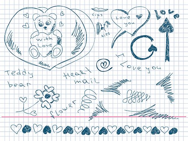 Material de vectores de elemento precioso amor pintados a mano