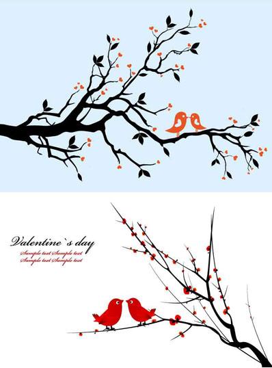 枝に鳥のベクター素材のペア