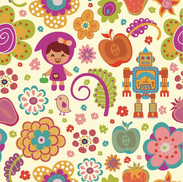 Cartoon flor padrão vector material