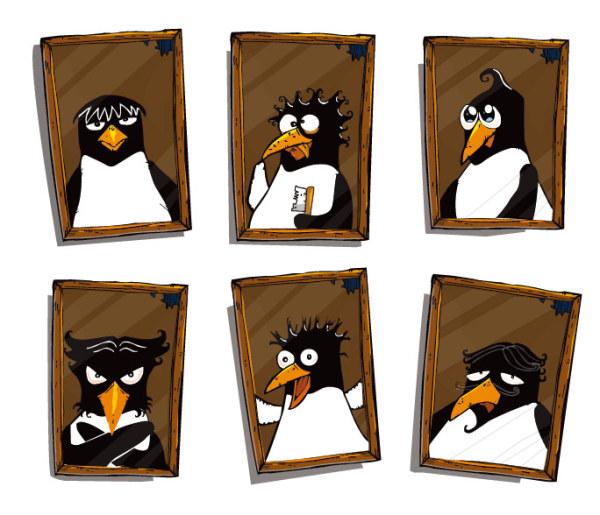 Mignon pingouin matériel Photo vecteur