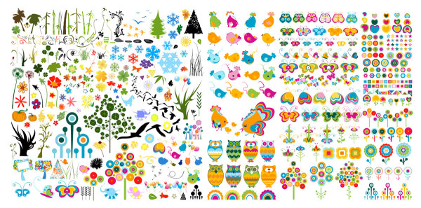 Plantas y animales lindos material de vectores